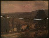 view Thompson Garden: moutain ranges in autumn; trees dotting the landscape. digital asset: Thompson Garden: moutain ranges in autumn; trees dotting the landscape.: [1928?]