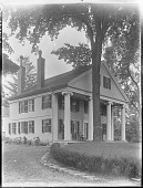 view [Unidentified Garden in Massachusetts, No. 1]: house with portico and entranceway digital asset: [Unidentified Garden in Massachusetts, No. 1]: portico and driveway.: [between 1920 and 1939]