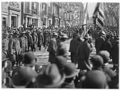 view [Miscellaneous Sites in Boston, Massachusetts]: a patriotic parade along Beacon Street across from the Boston Public Garden, at the time of the Spanish-American War. digital asset: [Miscellaneous Sites in Boston, Massachusetts] [glass negative]: a patriotic parade along Beacon Street across from the Boston Public Garden, at the time of the Spanish-American War.