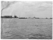 view [Miscellaneous Sites in Boston, Massachusetts]: looking across Boston Harbor toward East Boston, with naval and other ships, including the U.S.S. Indiana on the left. digital asset: [Miscellaneous Sites in Boston, Massachusetts] [glass negative]: looking across Boston Harbor toward East Boston, with naval and other ships, including the U.S.S. Indiana on the left.