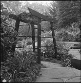 view [Sheldon Garden]: Japanese torii gate/arbor. digital asset: [Sheldon Garden] [safety film negative]: Japanese torii gate/arbor.