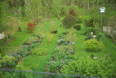 view [Manker Arboretum]: overview of two rows of perennials and shrubs with trees and shrubs interspersed in lawn. digital asset: [Manker Arboretum]: overview of two rows of perennials and shrubs with trees and shrubs interspersed in lawn.: 2004.