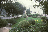 view [Hadwen House-Satler Memorial]: rear garden with sculpture base in center and white picket fence on left separating yard from road. digital asset: [Hadwen House-Satler Memorial]: rear garden with sculpture base in center and white picket fence on left separating yard from road.: 2002 Aug.