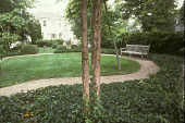 view [Hadwen House-Satler Memorial]: upper lawn and gravel path looking toward center lawn and house. digital asset: [Hadwen House-Satler Memorial]: upper lawn and gravel path looking toward center lawn and house.: 2002 Aug.