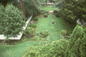 view [Hadwen House-Satler Memorial]: overview of center lawn and eastern beds featuring mullein, spiderwort, and veronica. digital asset: [Hadwen House-Satler Memorial]: overview of center lawn and eastern beds featuring mullein, spiderwort, and veronica.: 2002 Aug.