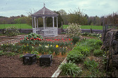 view [Ship Oak Farm]: vegetable garden in early spring; white gazebo and field in background. digital asset: [Ship Oak Farm]: vegetable garden in early spring; white gazebo and field in background.: 2004 Apr.