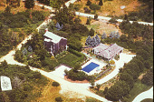 view [Blue Fish Inn Garden]: aerial view of property with house, lawn, garden, and pool. digital asset: [Blue Fish Inn Garden]: aerial view of property with house, lawn, garden, and pool.: 2006 Jun.