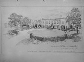 view [Brooks Garden]: perspective drawing showing house and circular driveway. digital asset: [Brooks Garden] [glass negative]: perspective drawing showing house and circular driveway.