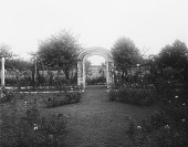 view [Marengo]: the rose garden and one of the arbors, with the orchard beyond. digital asset: [Marengo] [glass negative]: the rose garden and one of the arbors, with the orchard beyond.