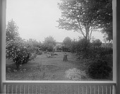 view [Marengo]: looking from the porch toward the orchard, before landscaping. digital asset: [Marengo] [glass negative]: looking from the porch toward the orchard, before landscaping.