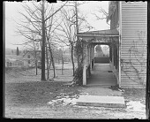 view [White Garden]: north end of porch in winter. digital asset: [White Garden] [glass negative]: north end of porch in winter.