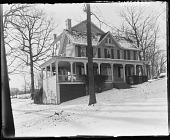 view [White Garden]: southeast corner of house in winter with snow. digital asset: [White Garden] [glass negative]: southeast corner of house in winter with snow.