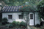 view [Voorhees Garden]: garage and workshop in fall. digital asset: [Voorhees Garden]: garage and workshop in fall.: 2000 Sep.