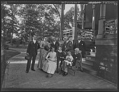 view [Tanglewood]: Dr. Gustav A. Liebig and family under porte-cochere. digital asset: [Tanglewood] [glass negative]: Dr. Gustav A. Liebig and family under porte-cochere.