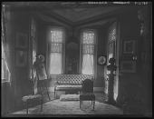 view [Tanglewood]: sitting room with painting easel. digital asset: [Tanglewood] [glass negative]: sitting room with painting easel.