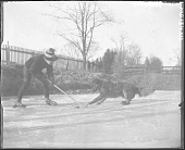 view [Miscellaneous Images in Maryland]: Wilson and dog playing hockey on James' pond. digital asset: [Miscellaneous Images in Maryland] [glass negative]: Wilson and dog playing hockey on James' pond.