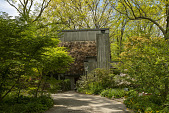 view [Clare and Van Stewart Garden]: The mid-century wooden house in the woods. digital asset: [Clare and Van Stewart Garden]: The mid-century wooden house in the woods.: 2018 May 7