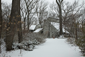 view [Clare and Van Stewart Garden]: The woodlands house with winter snow. digital asset: [Clare and Van Stewart Garden]: The woodlands house with winter snow. : 2018 January 16