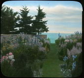 view [Baymeath]: perennials beds surround grass walkway to Bay. digital asset: [Baymeath]: perennials beds surround grass walkway to Bay.: [1920?]