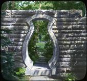 view [Abby Aldrich Rockefeller Garden]: bottle gate. digital asset: [Abby Aldrich Rockefeller Garden]: bottle gate.: [between 1914 and 1949?]