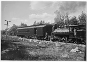 view [Miscellaneous Sites in Kennebunkport, Maine]: an engine and car of the Boston and Maine Railroad, which ran a branch to Kennebunkport beginning in the early 1880s. digital asset: [Miscellaneous Sites in Kennebunkport, Maine] [glass negative]: an engine and car of the Boston and Maine Railroad, which ran a branch to Kennebunkport beginning in the early 1880s.