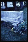 view [Harbor Gables]: stone bench (close-up). digital asset: [Harbor Gables]: stone bench (close-up).: 1988 Sep. 1.