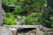 view [Western Way]: a stone slab bridge and overhead the wooden bridge in the driveway set over the wet weather stream bed. digital asset: [Western Way]: a stone slab bridge and overhead the wooden bridge in the driveway set over the wet weather stream bed.: 2014 Aug.