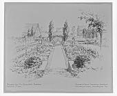 view [Backus Garden]: perspective sketch by Thomas Warren Sears digital asset: [Backus Garden] [glass negative]: photograph of a perspective sketch by Thomas Warren Sears.