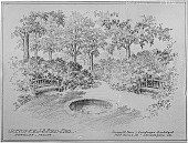 view [J. B. Ford Garden]: sketch of garden with a small pond and benches. digital asset: [J. B. Ford Garden] [glass negative]: sketch of garden with a small pond and benches.