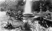 view [Middlegate Japanese Gardens]: Bronze cranes, fountain and pool and stone lanterns near second (St. Louis) street entrance. digital asset: [Middlegate Japanese Gardens]: Bronze cranes, fountain and pool and stone lanterns near second (St. Louis) street entrance.: ca. 1924-1962.