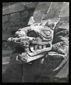 view [Pyramids of San Juan Teotihuacán]: a serpent head or other animal form sculpture at the site. digital asset: [Pyramids of San Juan Teotihuacán]: a serpent head or other animal form sculpture at the site.: 1937 Jan.