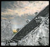 view [Pyramids of San Juan Teotihuacán]: a pyramid stairway showing animal head sculptures. digital asset: [Pyramids of San Juan Teotihuacán]: a pyramid stairway showing animal head sculptures.: 1937 Jan.