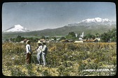 view [Miscellaneous Sites in Mexico]: looking toward the volcanoes Ixtaccihuatl (right) and Popocatepetl (left). digital asset: [Miscellaneous Sites in Mexico]: looking toward the volcanoes Ixtaccihuatl (right) and Popocatepetl (left).: 1937 Jan.