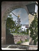 view [Miscellaneous Sites in Cuernavaca]: looking through an arch to the Cathedral of the Assumption of Mary. digital asset: [Miscellaneous Sites in Cuernavaca]: looking through an arch to the Cathedral of the Assumption of Mary.: 1937 Jan.