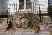 view [Burrows Garden]: wall fountain and stairs. digital asset: [Burrows Garden]: wall fountain and stairs.: circa 1962.