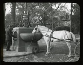 view [James Park]: horse drinking from trough in park. digital asset: [James Park] [slide] horse drinking from trough in park.