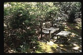 view [Watts Garden]: view of path resting spot. digital asset: [Watts Garden]: view of path resting spot.: 1997 May.