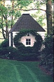 view [Boxwoods (Scotch Plains, New Jersey)]: the wall of the pump house, with Buxus microphylla (sport) espaliered in the shape of a horseshoe. digital asset: [Boxwoods (Scotch Plains, New Jersey)]: the wall of the pump house, with Buxus microphylla (sport) espaliered in the shape of a horseshoe.: 1999 May.