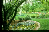 view [Dunwalke East]: circular birch and tulip garden in spring. digital asset: [Dunwalke East]: circular birch and tulip garden in spring.: [ca. 1990]