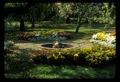 view [Four Oaks Farm]: crabapple garden with Neptune fountain in center. digital asset: [Four Oaks Farm] [slide (photograph)]: crabapple garden with Neptune fountain in center.