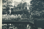 view [Wynnewood]: view across pool and garden to the house beyond. digital asset: [Wynnewood]: view across pool and garden to the house beyond.: [between 1930 and 1965]