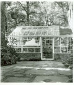 view [Billings Garden]: exterior view of greenhouse and surrounding patio and trees. digital asset: [Billings Garden] [safety film negative and photographic print]: exterior view of greenhouse and surrounding patio and trees.