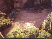 view [Brown, John and Betty, Garden]: overhead view of courtyard. digital asset: [Brown, John and Betty, Garden] [transparency]: overhead view of courtyard.