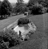 view [Frost Garden]: fish pond on terrace. digital asset: [Frost Garden] [photographic print and safety film negative]: fish pond on terrace.