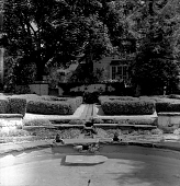 view [Erwin Park]: looking from pond through formal boxwood garden to back of house. digital asset: [Erwin Park] [photoprint]: looking from pond through formal boxwood garden to back of house.