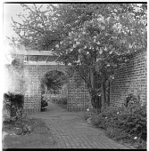 view [Holly Hill Farms]: garden view; pergola area. digital asset: [Holly Hill Farms] [safety film negative]: garden view; pergola area.