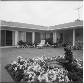 view [Williams Garden]: terrace with roofed dining area to right. digital asset: [Williams Garden] [safety film negative]: terrace with roofed dining area to right.