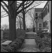 view [Vila Garden]: looking up brick path to terrace, with house on right. digital asset: [Vila Garden] [contact print and safety film negative]: looking up brick path to terrace, with house on right.