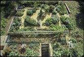 view [Saville Garden]: overhead view of cottage/herb garden. digital asset: [Saville Garden] [slide (photograph)]: overhead view of cottage/herb garden.