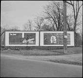 view [Miscellaneous Billboards and Signage]: roadside billboard advertising from United Adv. Corp. digital asset: [Miscellaneous Billboards and Signage]: roadside billboard advertising from United Adv. Corp.: [between 1914 and 1949?]
